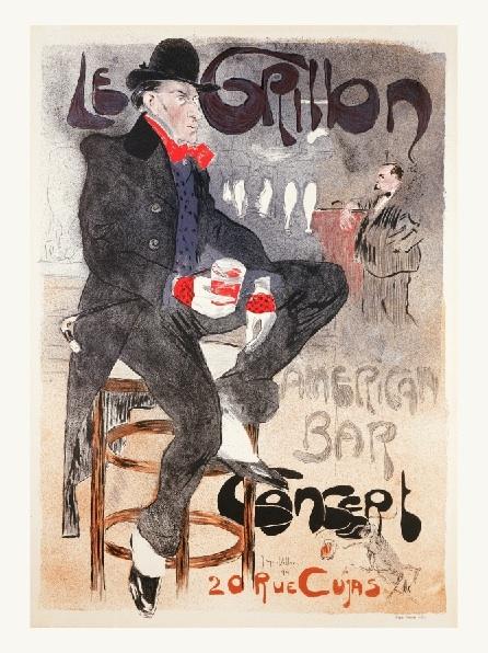 Affiche-publicitaire-Le-Grillon-American-Bar-J-M Levet
