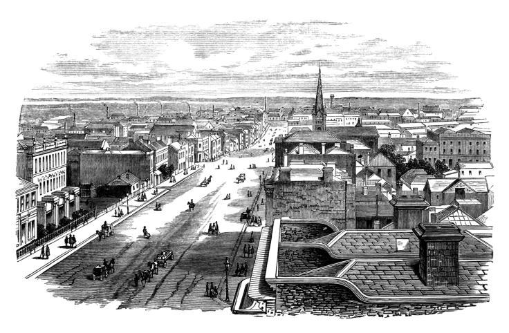 19th century engraving of the city of Melbourne, Australia